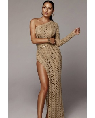 Camel One Shoulder Crochet High Slit Slit Sexy Cover Up
