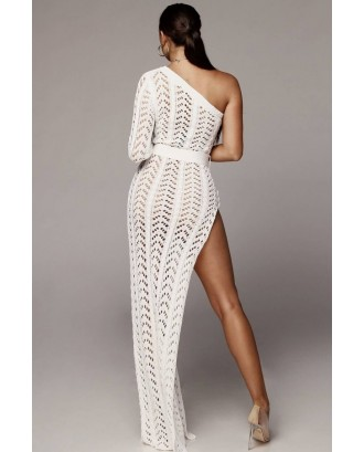 White One Shoulder Crochet High Slit Slit Sexy Cover Up