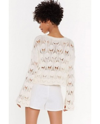 White Crochet Hollow Out Flare Sleeve Sexy Cover Up