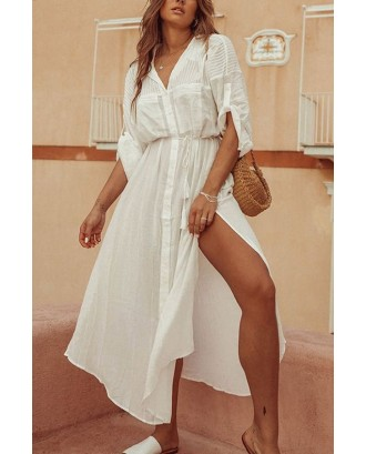 White Button Up Slit Side Tassel Tied Casual Dress Cover Up