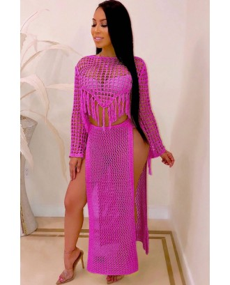 Hot-pink Fringe Hollow Out Slit Crop Top Skirt Sexy Cover Up