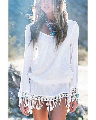 White Fringe Decor Long Sleeve Chic Cover Up