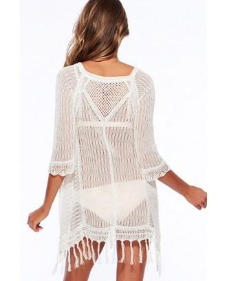 White Crochet Fringe Swimsuit Cover Up