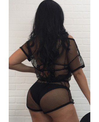Black Drawstring Beautiful See Through Romper Beachwear