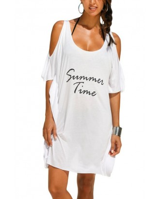 Letters Pattern Cold Shoulder Loose Bikini Cover Up