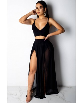 Spaghetti Straps Slit Crop Top Skirt Sexy Cover Up