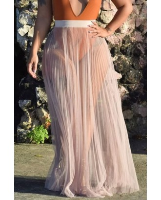 Mesh Sheer Pleated Sexy Maxi Beach Skirt Cover Up