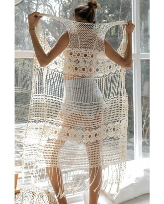 Beige Hollow Out Crochet Fringe Hem Sexy Beach Cardigan Cover Up