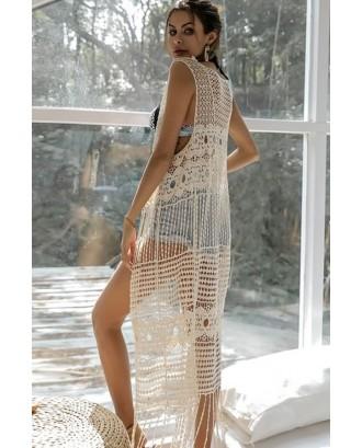 Beige Hollow Out Crochet Fringe Hem Beautiful Beach Cardigan Cover Up