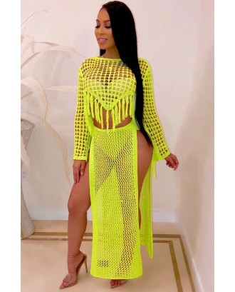 Yellow Fringe Hollow Out Slit Crop Top Skirt Sexy Cover Up