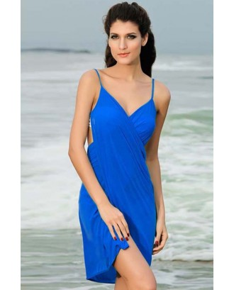 Blue V Neck Stylish Beach Cover-up Swimsuit