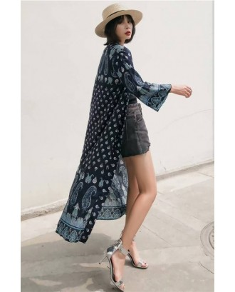 Dark-blue Tribal Print Long Sleeve Casual Kimono Cover Up