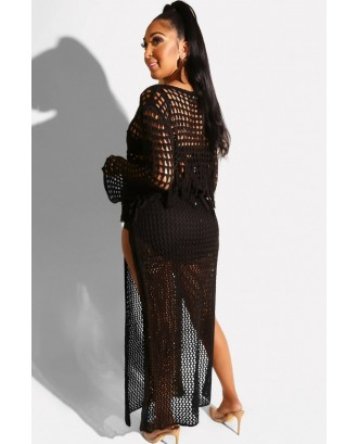 Black Fringe Hollow Out Slit Crop Top Skirt Sexy Cover Up