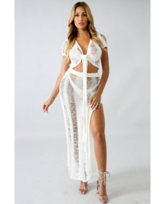 White V Neck High Slit Tied Crop Top Skirt Sexy Cover Up