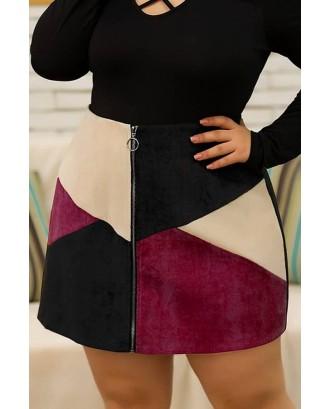 Black Color Block Zipper Up Casual Plus Size Skirt