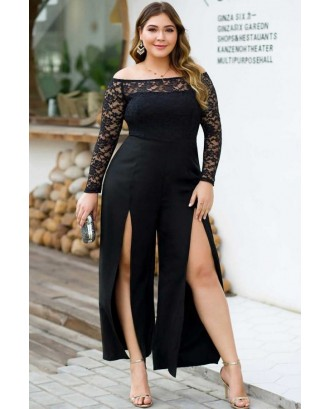 Black Lace Splicing Off Shoulder High Slit Long Sleeve Sexy Plus Size Jumpsuit