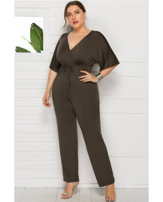 Army-green Tied Waist V Neck Sexy Plus Size Jumpsuit