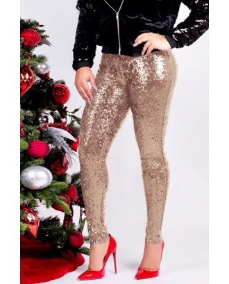 Apricot Glitter Sequin Sexy Plus Size Pants