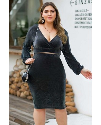 Black Glitter V Neck Long Sleeve Sexy Crop Top Skirts Set