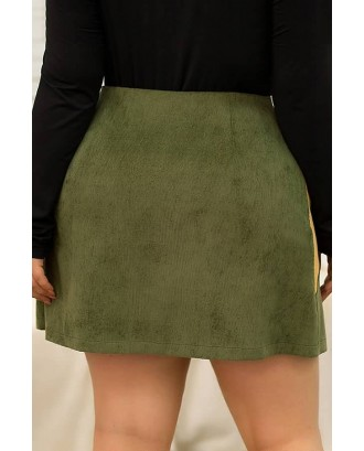 Army-green Color Block Zipper Up Casual Plus Size Skirt