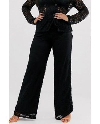Black Lace Elastic Waist Chic Wide-leg Pants