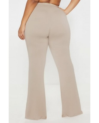 Beige High Waist Casual Plus Size Flared Pants