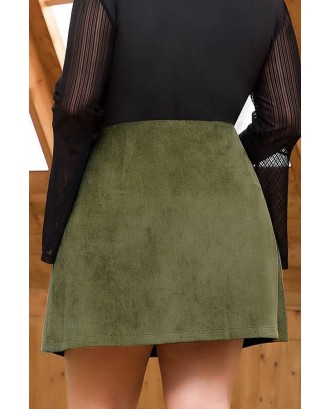 Army-green Corduroy Button Decor Pocket Casual Plus Size Skirt