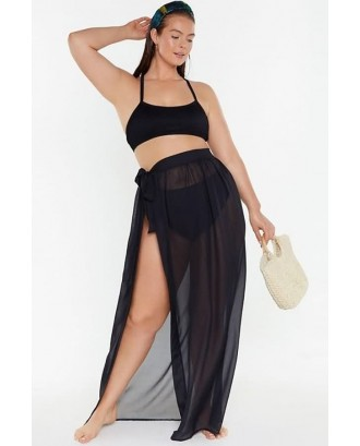 Black Mesh Sheer Slit Sexy Plus Size Skirt Cover Up