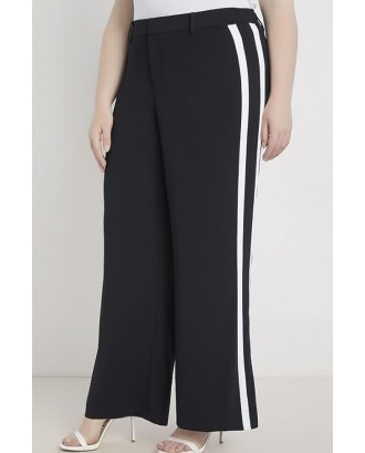 Black Contrast Stripe Wide Leg Casual Plus Size Pants