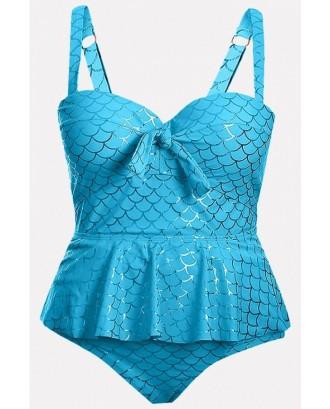 Jade-blue Knotted Ruffles Peplum Padded Beautiful Tankini