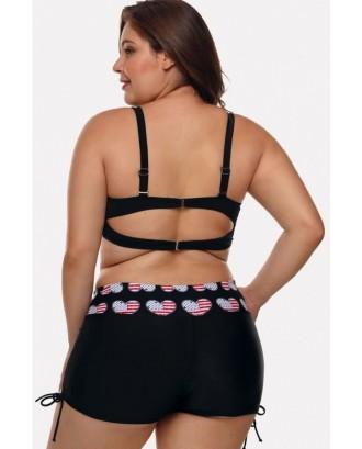 Black Heart Cutout Padded Beautiful Plus Size Swimwear Swimsuit