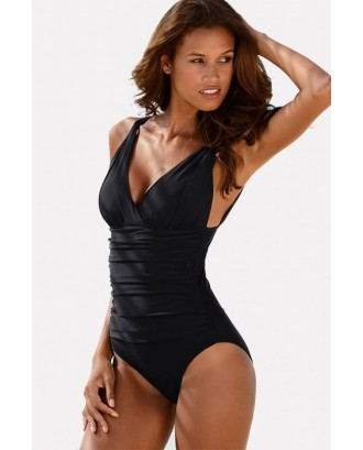 Black V Neck Ruched Padded Beautiful One Piece Swimsuit