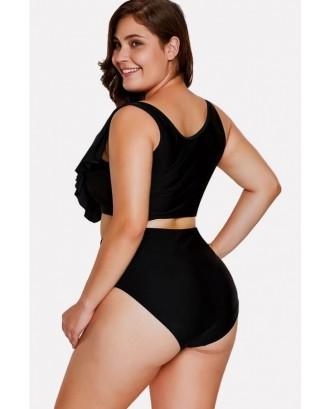 Black Lace Up Ruffles Padded High Waist Sexy Bikini Swimsuit