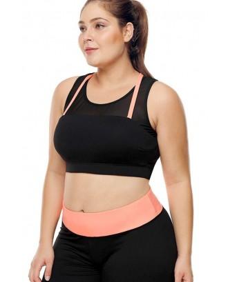 Black Contrast Stripe Round Neck Plus Size Sports Bra