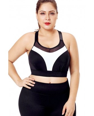 Black Two Tone Mesh Splicing T Back Breathable Plus Size Sports Bra