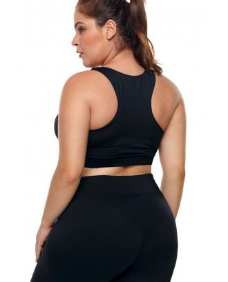 Black U Neck Racer Back Yoga Plus Size Sports Bra