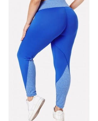 Blue Patchwork Yoga Plus Size Sports Leggings