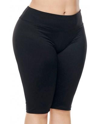 Black High Waist Running Workout Plus Size Sports Shorts