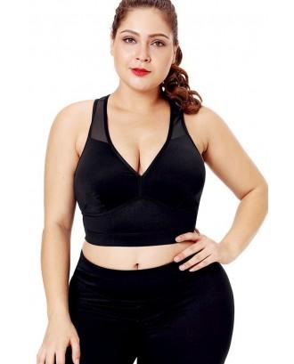 Black V Neck Mesh Splicing Push Up Plus Size Yoga Sports Bra