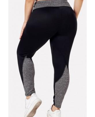 Black Patchwork Yoga Plus Size Sports Leggings
