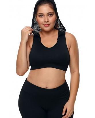 Black Hoodie Lace Plus Size Sports Bra