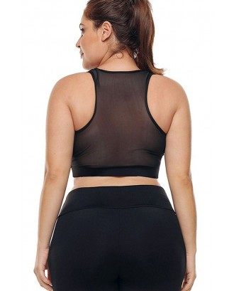 Black Racer Back Mesh Breathable Running Plus Size Sports Bra