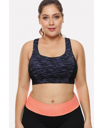Black U Neck Strappy Workout Sports Bra