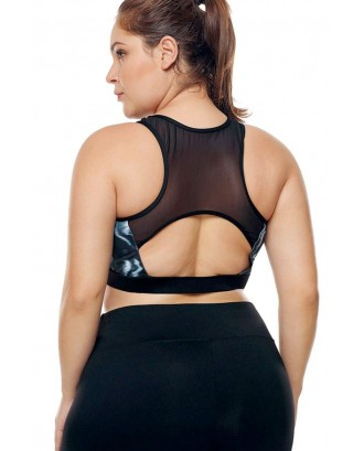 Black Print U Neck Mesh Cutout Racer Back Plus Size Sports Bra