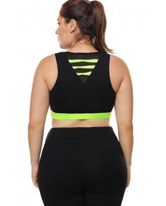 Black Two Tone U Neck Yoga Plus Size Sports Bra