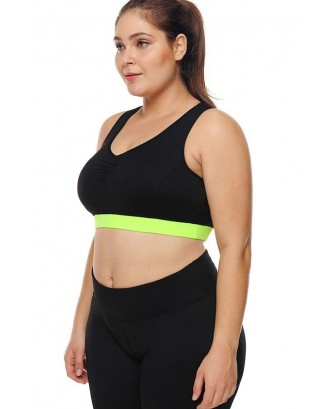 Black Two Tone U Neck Yoga Plus Size Sports Bra