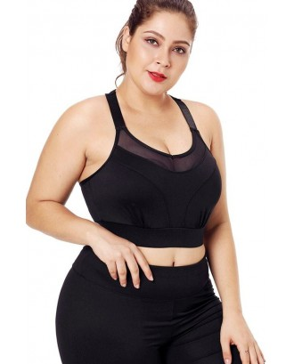 Black Mesh Splicing T Back Breathable Plus Size Sports Bra