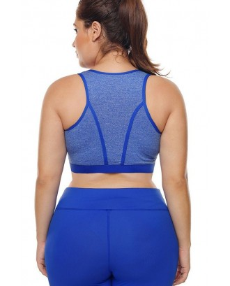 Blue U Neck Racer Back Yoga Plus Size Sports Bra