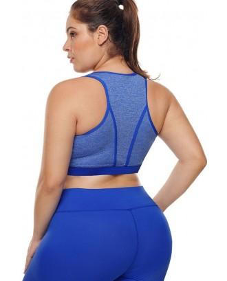 Blue U Neck Racer Back Yoga Plus Size Sports Bra