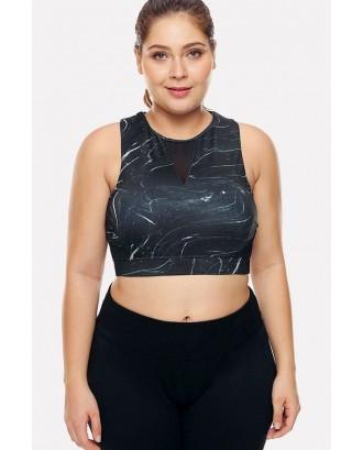 Black Print Cutout Fitness Sports Bra